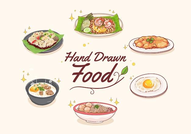 Mão desenhar conjunto de comida tailandesa