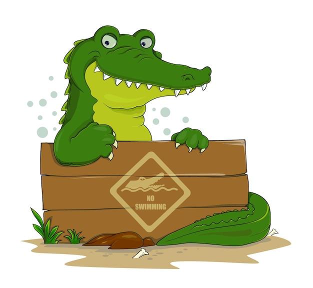 Mão desenhar crocodilos segurando uma placa de aviso