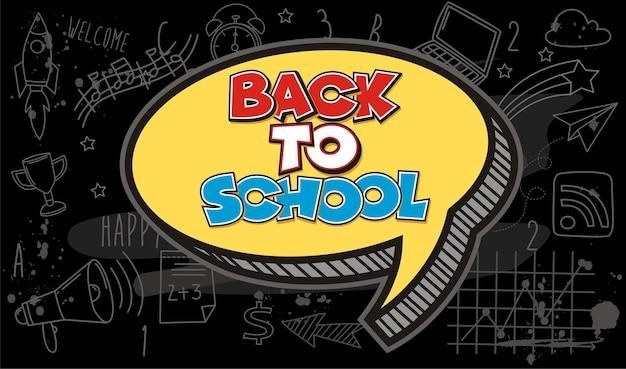 Mão desenhar de volta à escola em um quadro negro