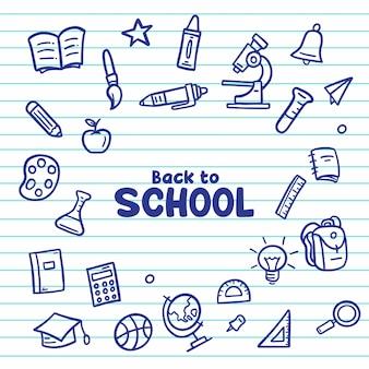 Mão desenhar de volta à escola