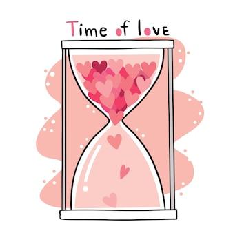 Mão desenhar desenho animado bonito do dia dos namorados, ampulheta em muitos corações