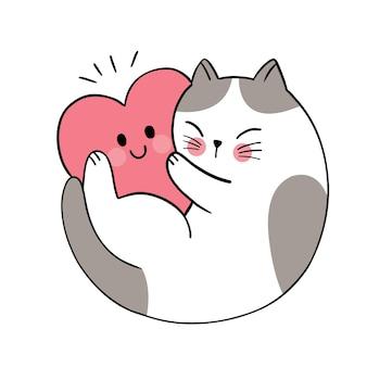 Mão desenhar desenho animado bonito do dia dos namorados, gato abraçando um grande coração