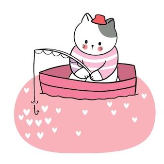 Mão desenhar desenho animado bonito do dia dos namorados, gato pescando no barco