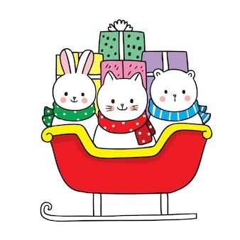 Mão desenhar desenho animado bonito feliz natal, animais e caixas de presente em trenós