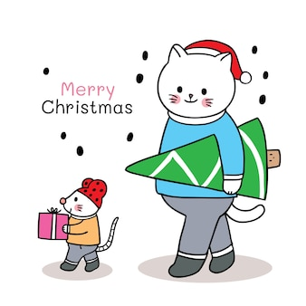 Mão desenhar desenho animado bonito feliz natal
