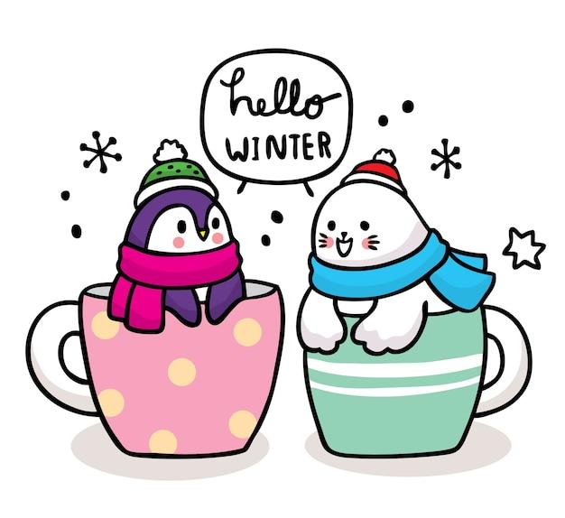Mão desenhar desenho animado inverno bonito pinguim e selo na xícara de café.