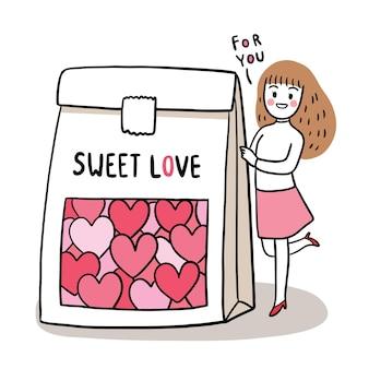 Mão desenhar desenho bonito para o dia dos namorados com uma mulher e herats doces em uma bolsa