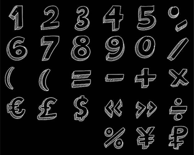Mão desenhar desenho de números de doodle