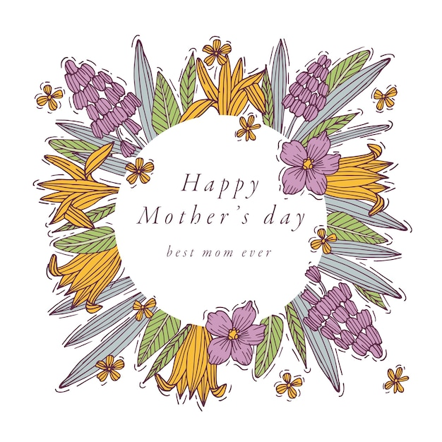 Mão desenhar design para a cor colorida do cartão de cumprimentos do dia das mães. tipografia e ícone para plano de fundo de férias de primavera, banners ou cartazes e outros para impressão.