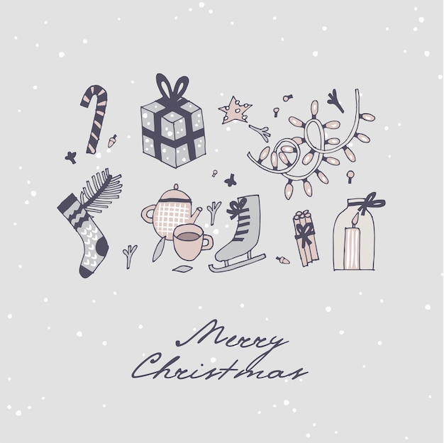 Mão desenhar design para o padrão de saudações de natal. plano de fundo sem emenda de natal, banners ou pôsteres e outros para impressão. elementos de design de férias de inverno.