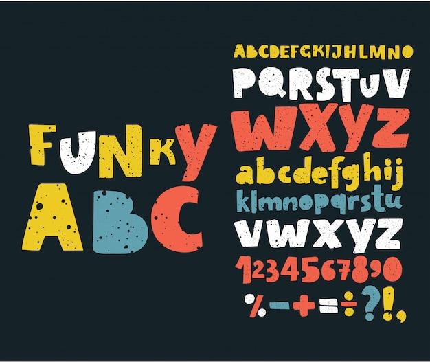 Mão desenhar doodle abc, ilustração de fonte de tipo de arranhão de grunge de alfabeto.