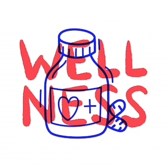 Mão desenhar doodle ícone de pílula médica bem-estar no estilo de desenho.