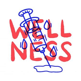 Mão desenhar doodle seringa médica de bem-estar
