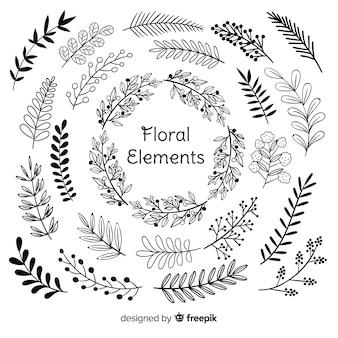 Mão desenhar elementos de decoração floral