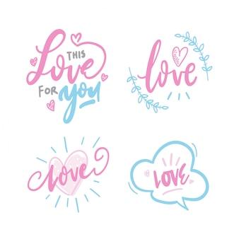 Mão desenhar enfeites de amor