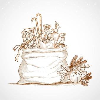 Mão desenhar esboço cartão de feliz natal