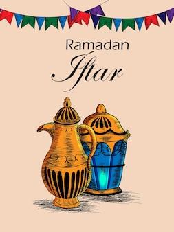 Mão desenhar festa iftar ou ramadã mubarak fundo com lanterna árabe