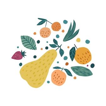 Mão desenhar frutas imprimir. bagas de maçã, morango, pêra e cereja.