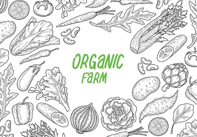 Mão desenhar fundo vegetal