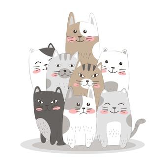 Mão desenhar gatos