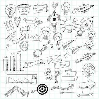 Mão desenhar ícone de desenho de tecnologia doodle cenografia