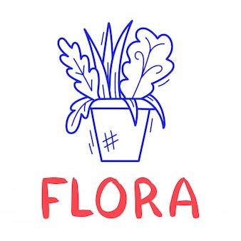 Mão desenhar ícone de vaso de flores em estilo doodle para seu projeto com letras. Vetor Premium