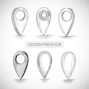 Mão desenhar ícone do ponteiro de localização definir desenho