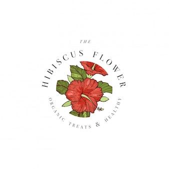 Mão desenhar ilustração de logotipo de flores de hibisco. guirlanda floral emblema floral botânica com tipografia em fundo branco.