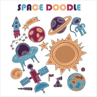 Mão desenhar ilustração do espaço com um foguete, astronautas, planetas e alienígenas