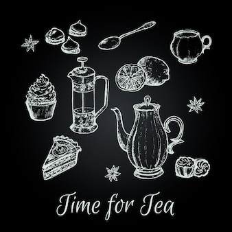 Mão desenhar ilustração em vetor festa do chá.