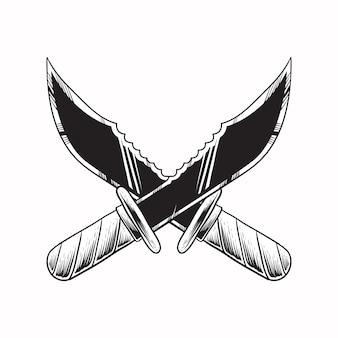 Mão desenhar ilustração faca estilo de gravura