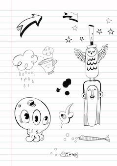 Mão desenhar ilustração vetorial de rabiscos
