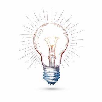 Mão desenhar lâmpada em desenho de esboço