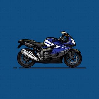 Mão desenhar moto esporte azul