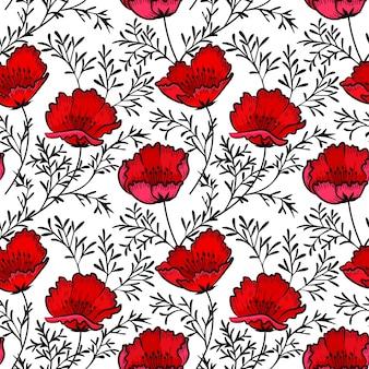 Mão desenhar padrão de flores vermelhas de papoula