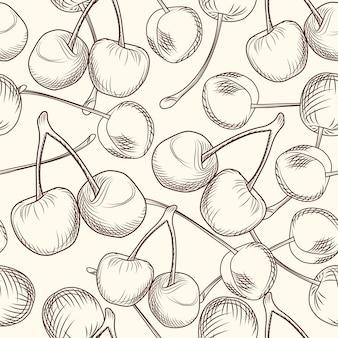 Mão desenhar padrão sem emenda de cerejas. estilo de gravura.