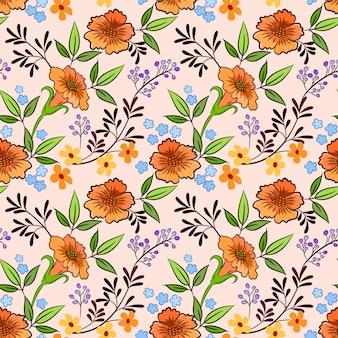Mão desenhar padrão sem emenda de flores de laranja.