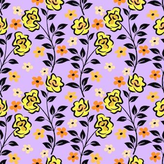 Mão desenhar padrão sem emenda de flores pretas e amarelas.