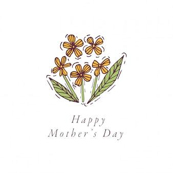 Mão desenhar para cartão de cumprimentos de dia das mães cor colorida. tipografia e ícone para o fundo de férias de primavera, banners ou cartazes e outros imprimíveis.
