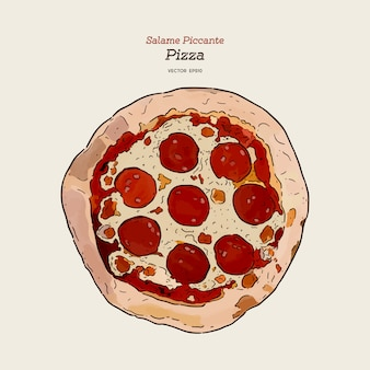 Mão desenhar pizza salame