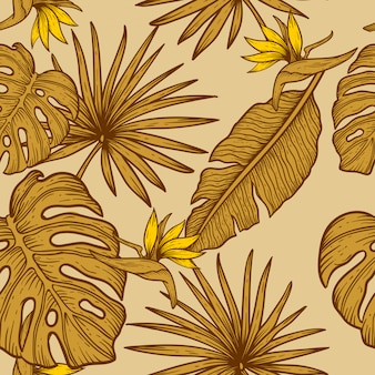 Mão desenhar projeto padrão de flor sem emenda