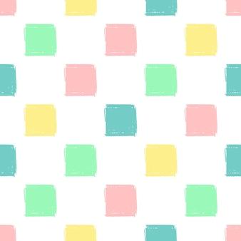 Mão desenhar quadrados padrão crianças azul, rosa, menta, amarelo. lápis de fundo infinito de vetor textura de quadrados em cores pastel. o modelo para a embalagem, têxteis para bebês, plano de fundo do site