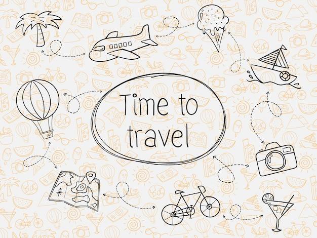 Mão desenhar viagens de verão sem costura