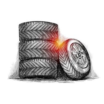 Mão desenhe esboço de pneu conjunto completo realista