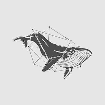 Mão, desenho, baleia