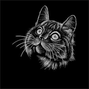 Mão desenho cabeça de gato