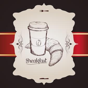 Mão desenho café da manhã copo plástico café pão croissant vintage distintivo
