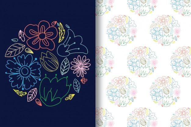 Mão, desenho, coloridos, flor, linhas, com, padrão