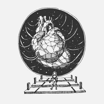 Mão desenho coração de pedra