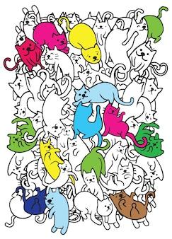 Mão, desenho, cute, doodle, gatos, grupo